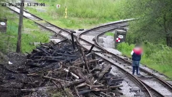 Woman caught on CCTV walking dog along live railway lines
