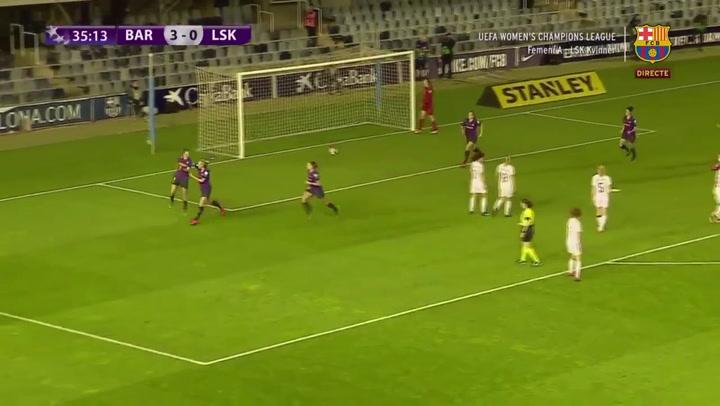 Femenino: Barcelona - LSK Kvinner. Gol de Mariano (3-0)