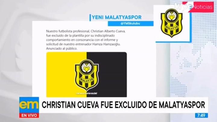 Separan a Christian Cueva del Yeni Malatyaspor