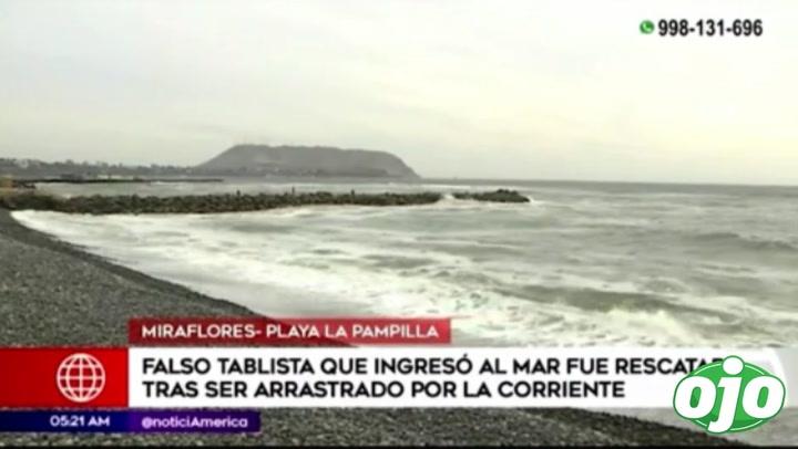 Miraflores: Falso tablista ingresó al mar y tuvo que ser rescatado | VIDEO