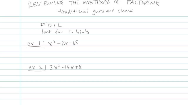 Review of the Methods of Factoring - Problem 10