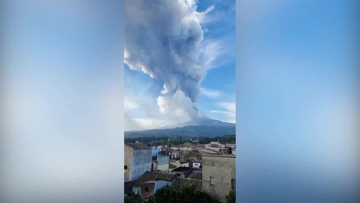 Mount Etna eruption sends plumes of smoke into sky