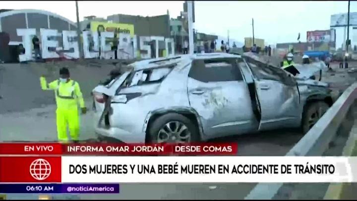 Comas: conductor choca contra puesto de anticuchos y mata a dos mujeres y una bebé