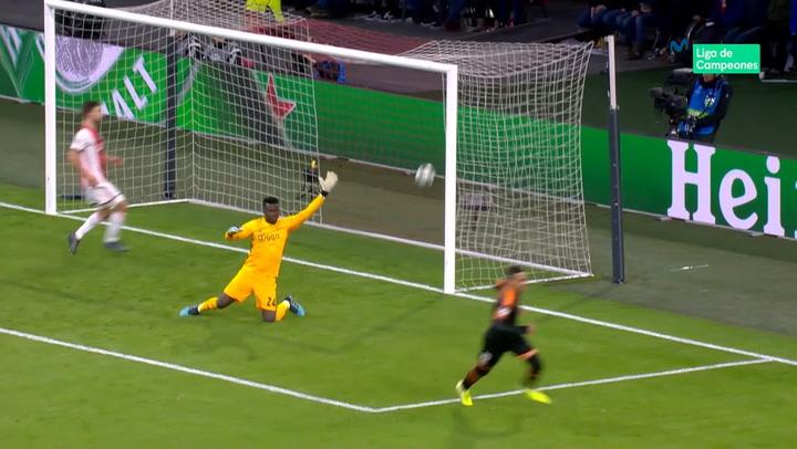 Champions League Ajax-Valencia. Gol de Rodrigo (0-1)