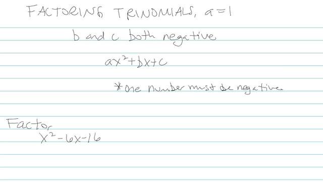 Factoring Trinomials, a = 1 - Problem 8