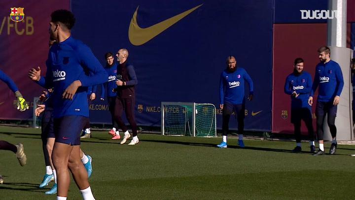 Quique Setién's first training session