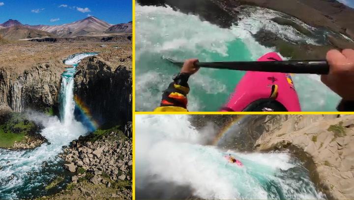 Vive en primera persona esta impresionante caída en kayak desde 40 metros de altura