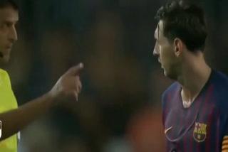El polémico gesto de Messi con el árbitro tras el empate contra Girona