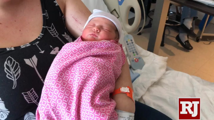 The first 2019 baby in the Las Vegas Valley was Melialani Chihiro Manning, born at 12:10 a.m. at Henderson Hospital. (Briana Erickson/Las Vegas ...