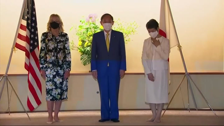 Tokyo Olympics: Jill Biden welcomed by Japanese PM ahead of the Games