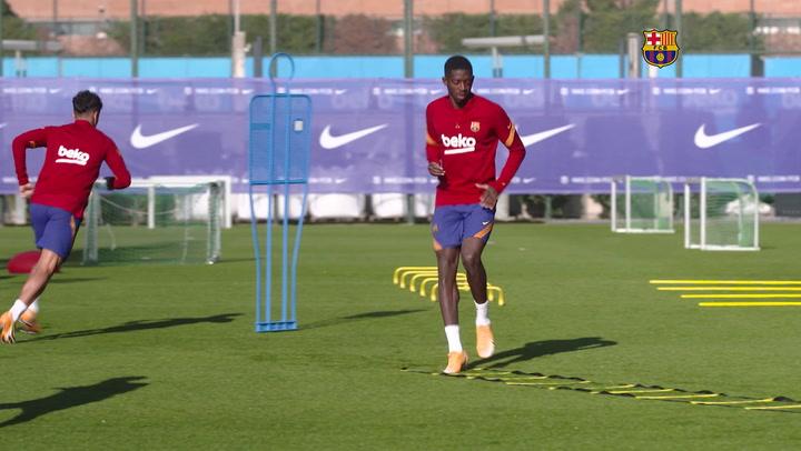 Nueva sesión de entrenamiento del Barça de cara al choque contra el Atlético