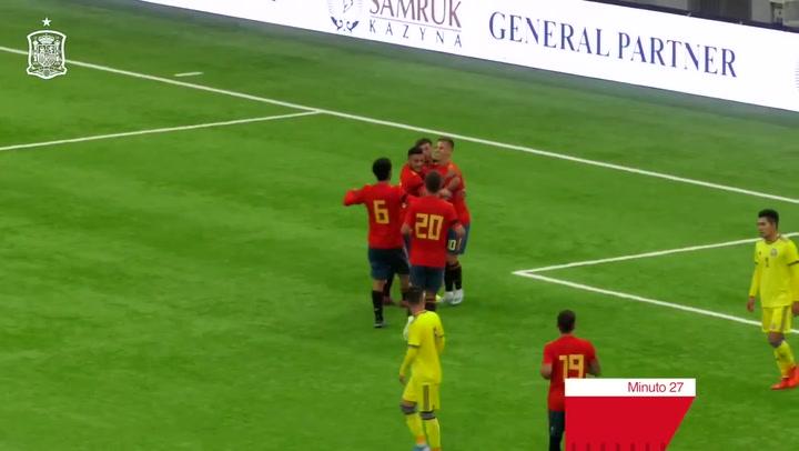 Un gol de Dani Olmo basta a España para superar a Kazajistán