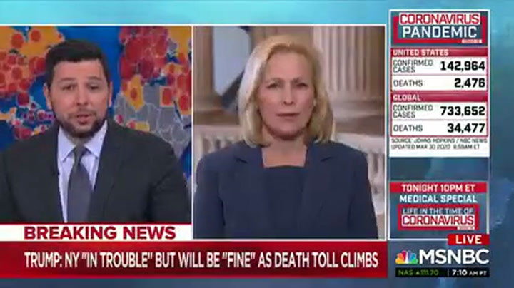 Gillibrand: 'Delusional' Trump Creating Conspiracy Theories to Cover Up His Delays on Coronavirus