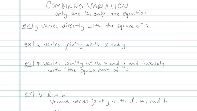 Joint and Combined Variation - Problem 3