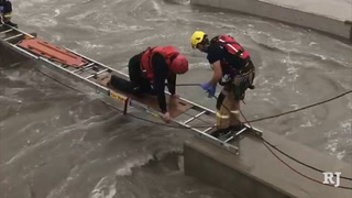 Swift water rescue at Durango Wash in Las Vegas