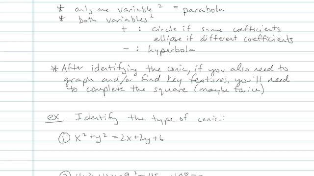 Conic Section Formulas - Problem 3