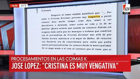 José López: A Cristina le temo porque es vengativa, la vi actuar