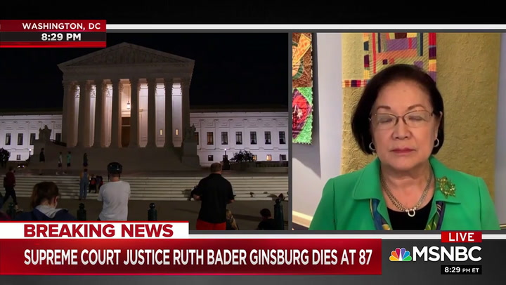 Sen Hirono Calls on Senate to Honor Ginsburg's Last Wish to 'Not Be Replaced Until a New President Is Installed'