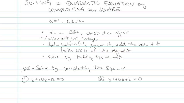 Solving a Quadratic by Completing the Square - Problem 4