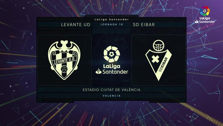 LaLiga Santander (J18): Resumen y goles del Levante 2-1 Eibar