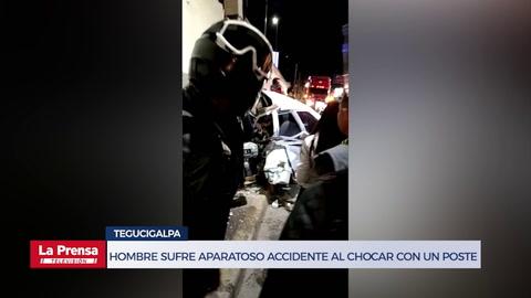 Hombre sufre aparatoso accidente al chocar con un poste