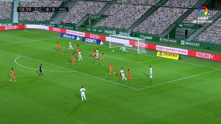 Gol de Josan (1-0) en el Elche 2-1 Valencia
