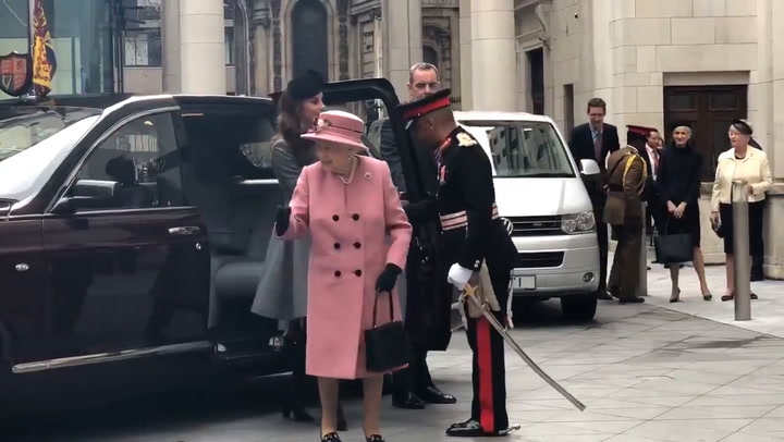 Kate and The Queen arrive for their joint engagement