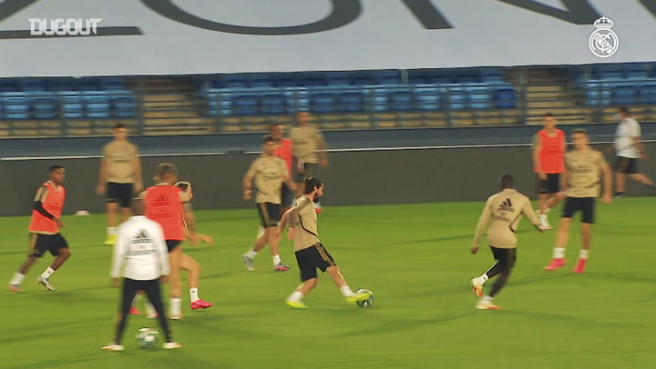 Real Madrid practise finishing before hosting Valencia