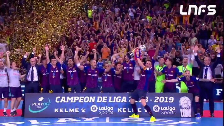 El Barça Lassa celebra la liga de fútbol sala