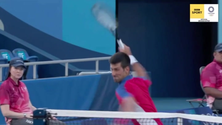 Novak Djokovic throws and smashes racquet in Tokyo Olympics bronze medal match defeat
