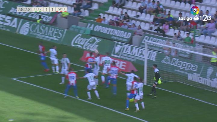 LaLiga 1|2|3: Córdoba - Real Sporting del 17/03/2019. Gol de Mathieu Peybernes