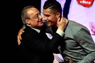 Florentino Pérez visita la casa de la Juventus en Turín y se reencuentra con Cristiano Ronaldo