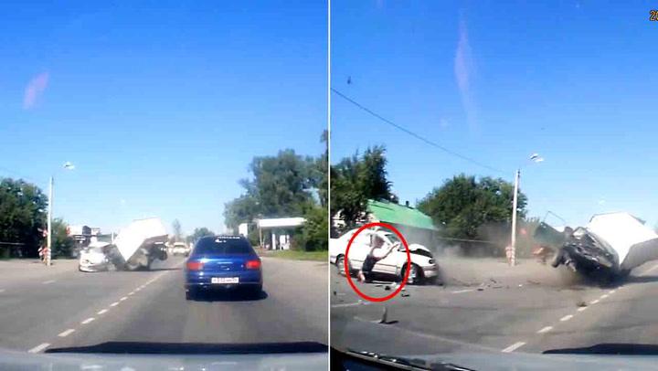 Gravid kvinne slynget ut av bil i grusom krasj