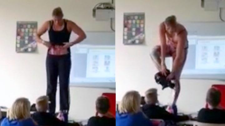 Læreren kastet klærne for å lære elevene om kroppen