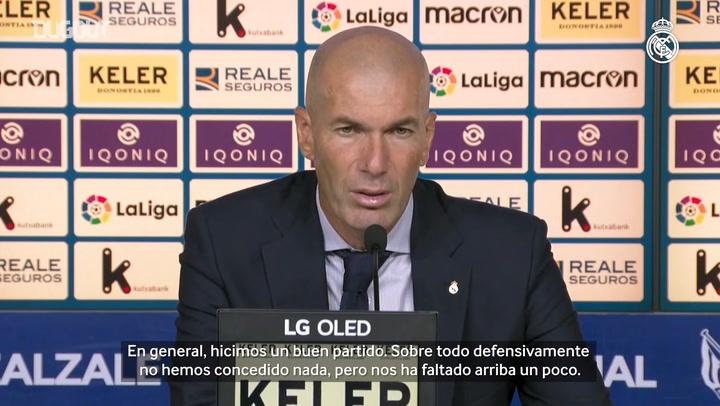 """Zidane: """"Hicimos un buen partido pero nos ha faltado claridad arriba"""""""