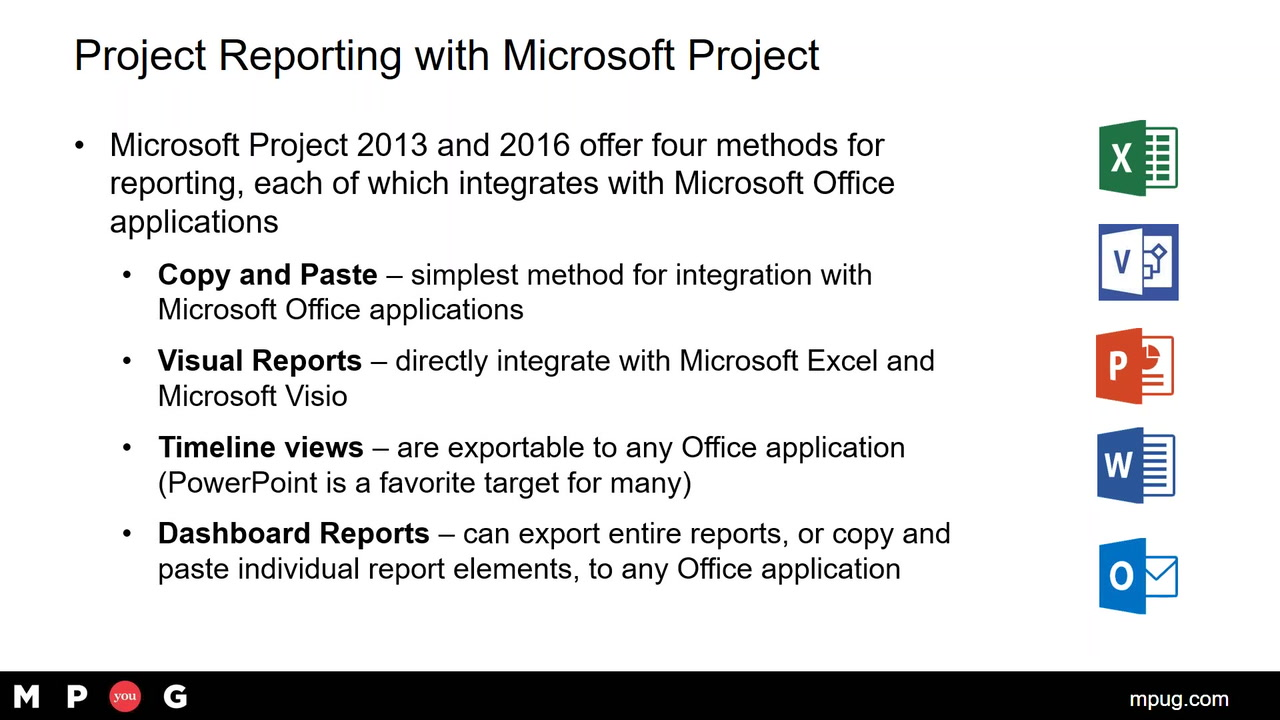 Microsoft Project Reporting Using Integration with the
