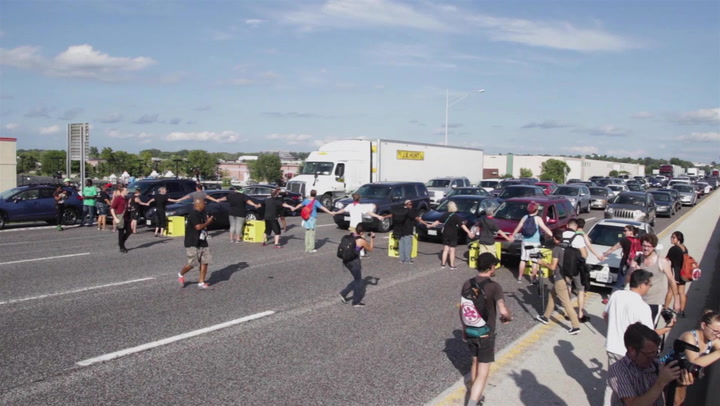 Show Me Democracy Documents Protesters Shutting Down Traffic on Interstate 70