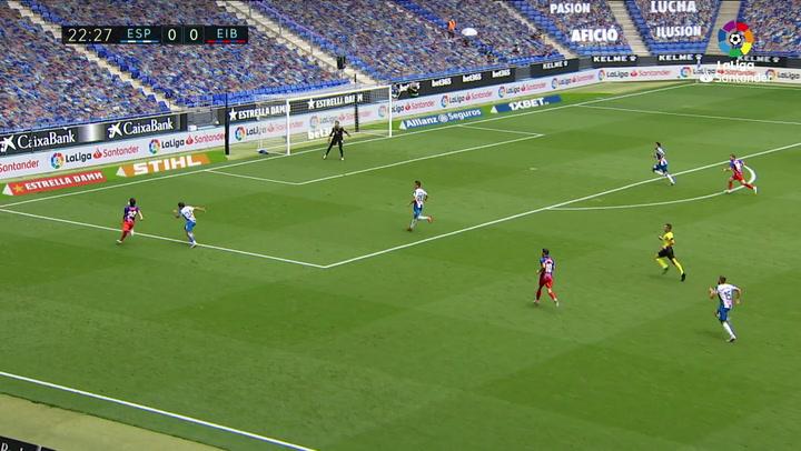 Gol de Edu Expósito (p.) (0-1) en el Espanyol 0-2 Eibar