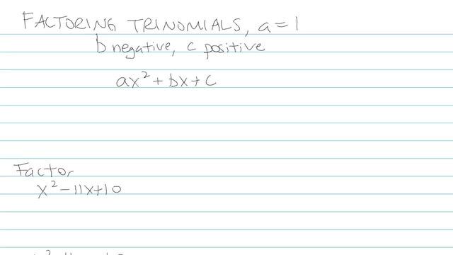 Factoring Trinomials, a = 1 - Problem 7