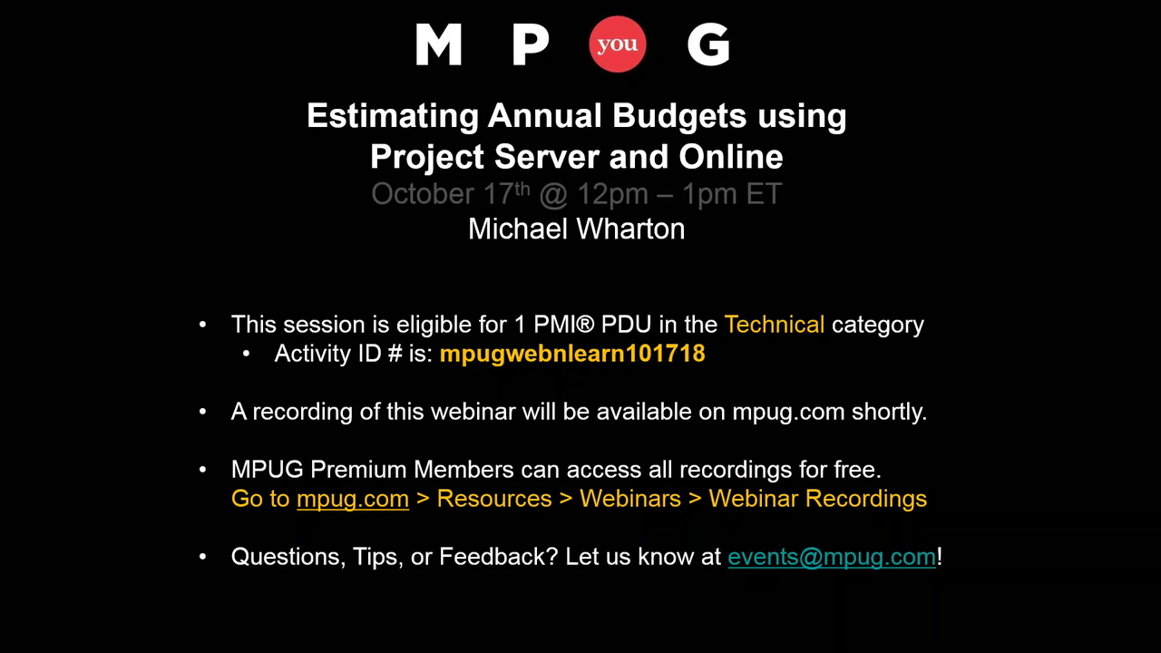 estimating annual budgets using project server and online mpug