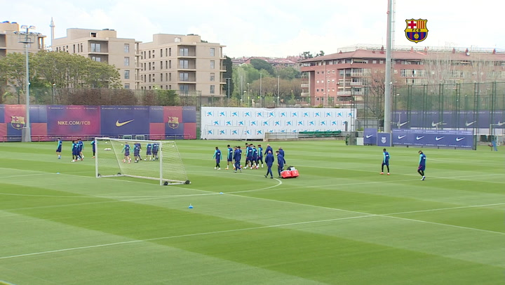 Entrenamiento del Barça previo al partido contra el Getafe