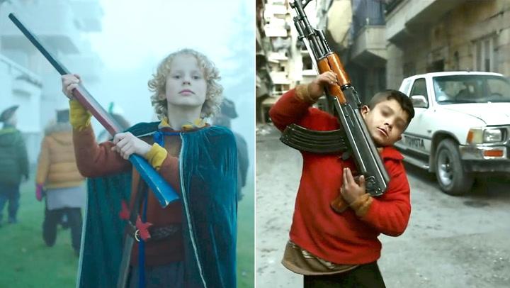 Barna leker krig – så inntreffer alvoret