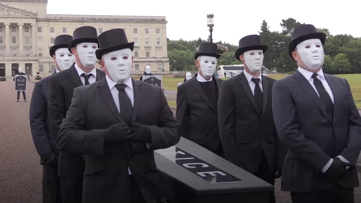 Staged funeral procession held in protest at planned end to Troubles prosecutions