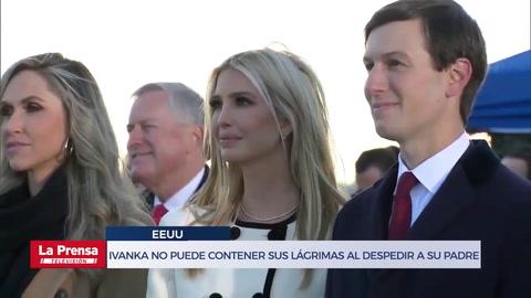 Ivanka Trump no puede contener sus lágrimas al despedir a su padre