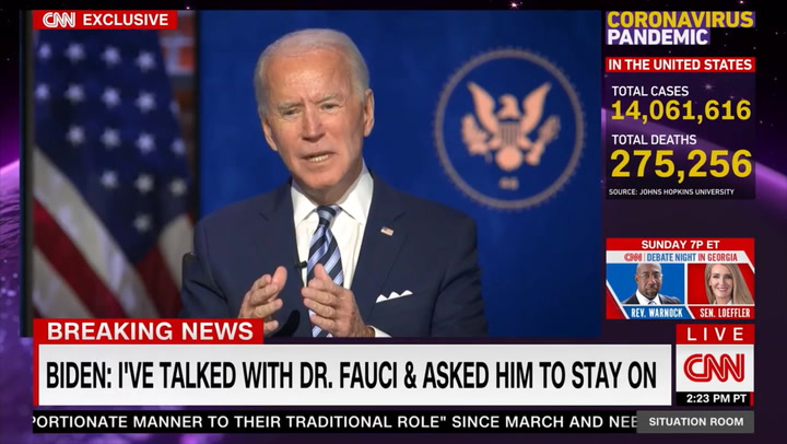 Biden: I'll Keep Fauci on as Part of COVID Team, Chief Medical Adviser