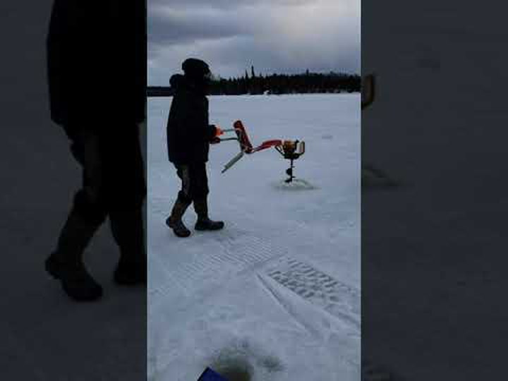 Ice Fishermen Hilariously Try To Turn Off An Auger With A Mind Of Its Own