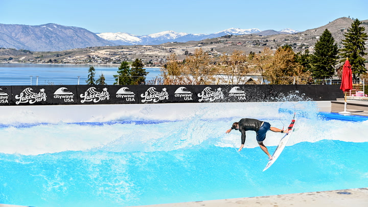 Jan Vogt rips the new CityWave, the biggest in the world, at Lakeside Surf in Chelan, Washington