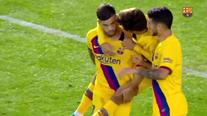 Gol de Carles Pérez (0-1) en el amistoso Cartagena - Barça