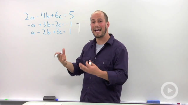 Solving a Linear System in Three Variables with no or Infinite Solutions - Problem 1