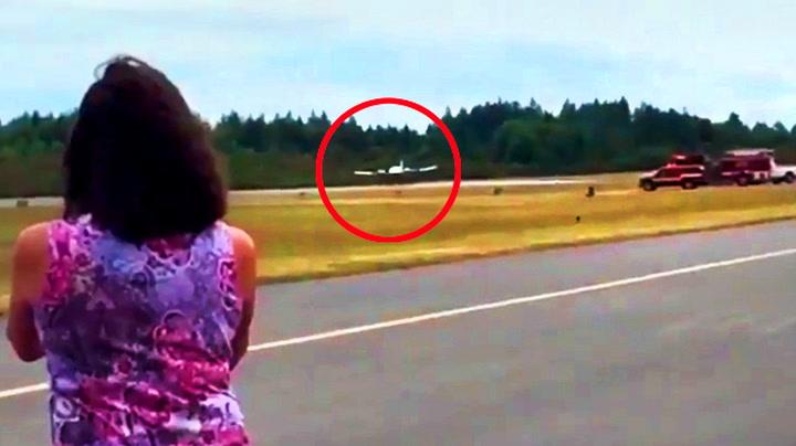 Her lander piloten med bare halve landingsutstyret i orden